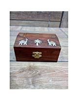 Premium Quality Wooden Hand Carved Jewellry Box Long With Elephent,Star Brass Design