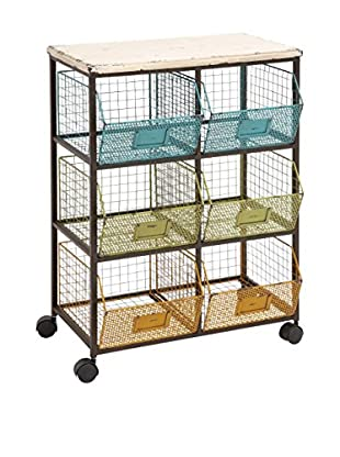 Wood Basket Cart, Multi