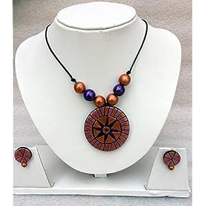 Anikalan Designs Maroon Suryakiran Terracotta Necklace Set