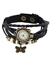 8 Republic London Mother's Day Black Leather Vintage Butterfly Bracelet Watch For Women