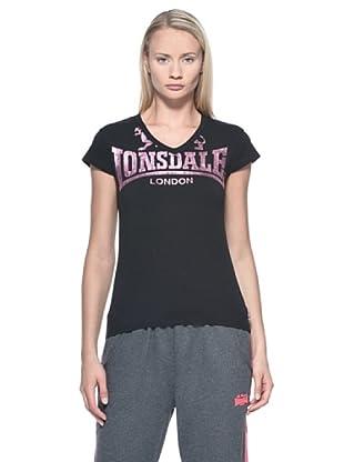 Lonsdale Camiseta Jenny (Negro / Rosa)