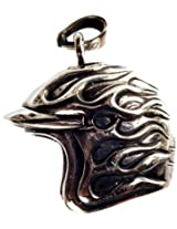 Exotic India Army Helmet Pendant - Sterling Silver