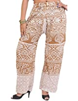 Exotic India Casual Trousers from Pilkhuwa with Printed Palm Trees - Color Indian TanGarment Size Free Size