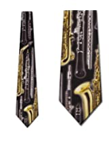 Men's Black with Gold Wind Instruments Musical Music Necktie Tie Neckwear