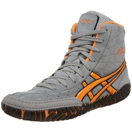 black and gold asics rulon wrestling shoes