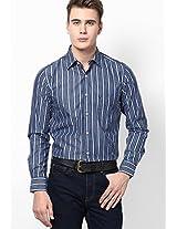 Blue Striped Regular Fit Casual Shirt Allen Solly