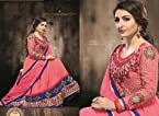 Georgette Peach Zari Work Semi Stitched Long Length Anarkali Suit