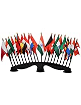 The Flag Company 20 Flags Of Different Countries with Acrylic Base and Poles (Length: 22 inches)