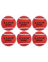 Axson Unisex Rubber Tennis Cricket Ball Light, Set Of 6 red