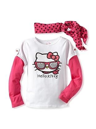 Hello Kitty Girl's 2-6X Scarf Top (Bright White)