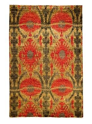 Darya Rugs Ikat Oriental Rug, Red, 6' x 9' 1