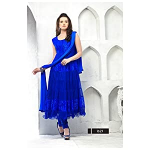 Net Embroidered Blue Designer Anarkali Suit - 14