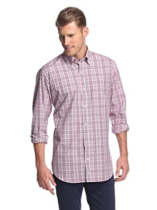 TailorByrd Men's Checked Long Sleeve Shirt (Fuchsia/Grey)