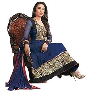 Karishma Kapoor Blue Georgette with Resham, Zari Embroidery Work Unstitched Anarkali Salwar Kameez Suit