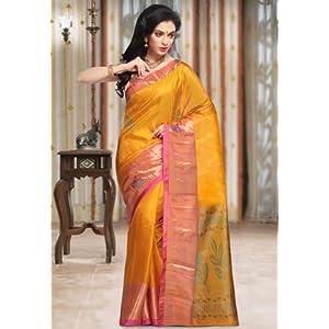 Utsav Fashion SVN133 Handloom Saree with Blouse - Mustard