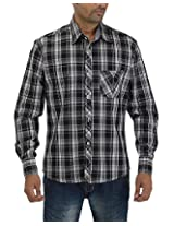 Maxx Shirts Men's Slim Fit Shirt (MX022, Black and White, 42)
