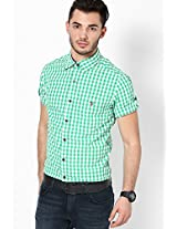 Checks Green Casual Shirt Mufti