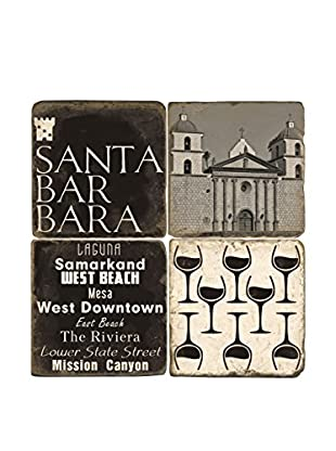 Studio Vertu Set of 4 Black & White Santa Barbara Tumbled Marble Coasters with Stand