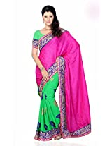 Shariyar Pink and Green Jacquard and Georgette embroidery Saree PRG381