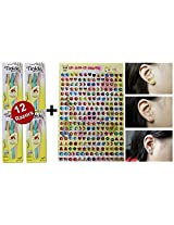 Tinkle Eyebrow Razor For Beautiful Eyebrows (12pcs) + Mighty Gadget (R) 120+ Pairs Stick On Earrings