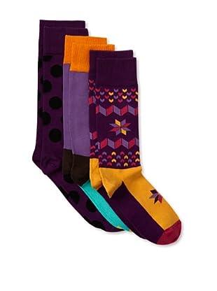 Happy Socks Women's Multi Socks (3 Pairs) (Purple/Orange)