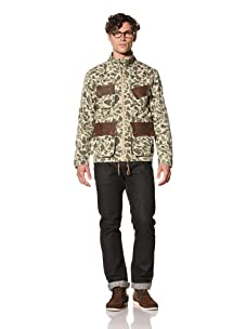 Under 2 Flags Men's Woven Miliatry Jacket (Olive Camo)