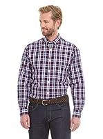 Cortefiel Camisa Cuadro Grande (Granate)
