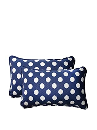 Set of 2 Outdoor Solar Spot Pool Rectangle Corded Toss Pillows (Navy/Cream)