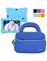 Evecase Neoprene Sleeve Case Bag for Express Y88X 7-inch Kids / Dragon Touch Android Tablet - Blue with Handle and Accessory Pocket