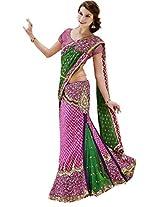 Green Pink Wedding Wear Lehenga Saree Sequin Stone Chiffon Jacquard Sari