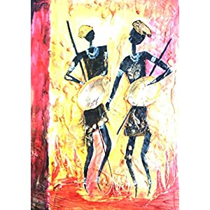 NUCreations Tribal Dance - Original Painting - Oil Paint On Canvas With Textures