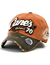 ililily Distressed Vintage Pre-curved Cotton embroidered logo Baseball Cap with Adjustable Strap Snapback Trucker Hat - 507-3