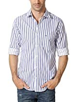 Peter England Blue White Striped Shirt With Logo