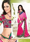 Magenta Chiffon embroidered saree with Blouse. Item Code BBS-122