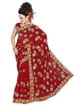 A.V.Fashion Embroidered Saree (1101_Maroon)