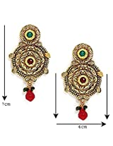 Bindhani Round leaf shaped Gold plated Ruby green traditional Earrings