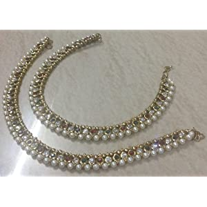 Pearl and stone bridal anklets