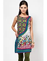 Sleeve Less Self Pattern Multi Kurti