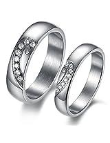 Zevrr 92.5 Swarovski Zirconia Silver Designer Couple Band for Male and Female