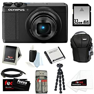 Olympus XZ-10 iHS 12MP Digital Camera with 5x Optical Zoom Image Stabilized (Black) + 32GB Memory Card + Replacement LI-50B Battery + Camera Case + Deluxe Kit