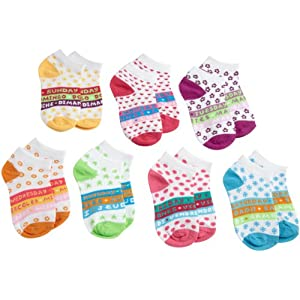 Jefferies Socks Little Girls'  Uniform Days Of The Week Low Cut Socks, Multi, 8-9.5