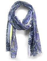 ScarfKing Paisley Design Printed Polyester Women Scarf-Blue