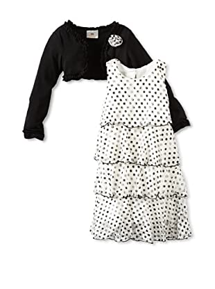 Marmellata Girl's Tiered Dress with Jacket (Black/White)