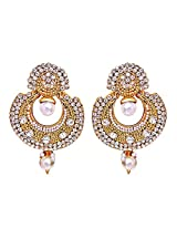 Surat Diamonds Gold-Plated Hoop Earring For Women White - PSE7