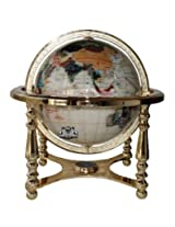 Unique Art 21-Inch Tall Pearl Ocean Table Top Gemstone World Globe with 4 Leg Gold Stand