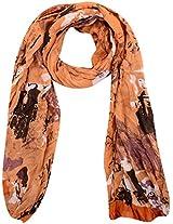 MALTDZ Women's Polyester Scarf (Light Brown & Black)
