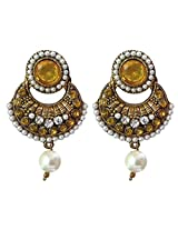 Designer Yellow & White Colour Faux Pearl Jhumki Earrings - 10022.4