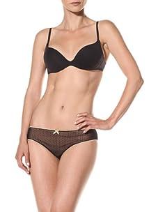 Cosabella Women's Coquette Low Rise Bikini (Pack of 2) (Black/Nude)
