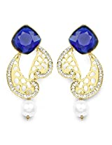Blue Stone, Gold Synthetic Pearl & White Stone Gold Plated Dangle Earrings