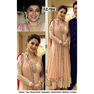 BOLLYWOOD CELEBRITY DRESS MADHURI DIXIT NAVAJOWHITE COLOR,EMBROIDERY WORK WITH GEORGETTE FABRICS DESIGN SAL-WAR KAMEEZ DRESS MATERIAL